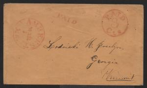 STAMPLESS US COVER VF Red Amherst MA CDS & PAID 3cts in Circle March 1