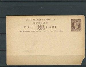 SEYCHELLES; 1890s early classic QV Mint Postal Stationary Card