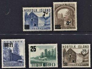 STAMP STATION PERTH Norfolk Island #21,22,26-28 Surcharge Set MNH- CV$23.00