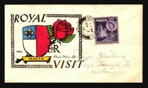 Malta 1954 Royal Visit FDC / Hand Colored - L3843