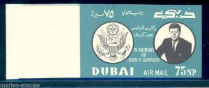 DUBAI  1964 JOHN F. KENNEDY  75 np DARK GREEN VALUE WITHOUT 22 NOVEMBER  in red