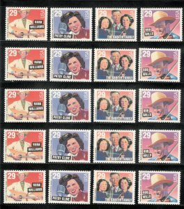 US Postage Stamps 2771-74 Country & Western Wholesale Lot Of 20  Below Face