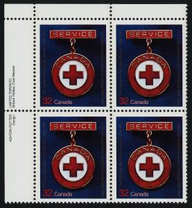 Canada 1013 TL Plate Block MNH Red Cross Medal