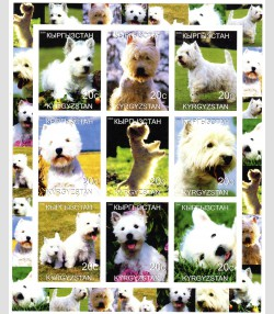 Kyrgyzstan 2000 DOGS THE WESTIE Sheet Imperforated Mint (NH)
