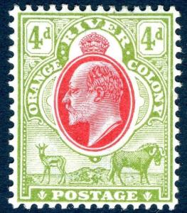 ORANGE RIVER COLONY-1903  4d Scarlet & Sage-Green Sg 144 LIGHTLY MOUNTED MINT