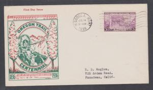 US Mel 783-21a FDC.1936 3c Oregon Trail Centennial, Top Notch cachet, VF