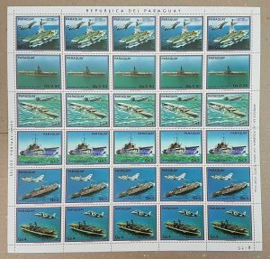 EC140 1983 PARAGUAY AVIATION & SHIPS !!! MICHEL 16 EURO BIG SH FOLDED IN 2 MNH