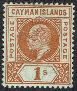 CAYMAN ISLANDS 1902 KEVII 1/- WMK CROWN CA