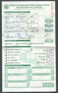CANADA REVENUE B.C. 1997-98 NON TIDAL ANGLING LICENCE