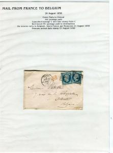 FRANCE Early LETTER/COVER 1858 fine used item Paris - Ostend Belgium