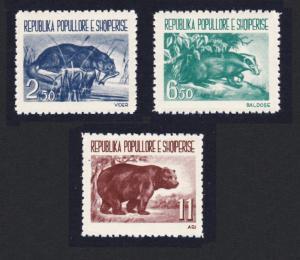 Albania Badger Bear Otter Fauna 3v SG#673-675 MI#627-629 SC#589-591 CV£20+