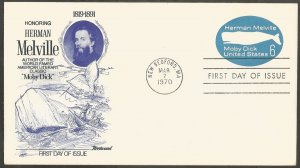 US FDC.1970 HERMAN MELVILLE-MOBY DICK EMBOSSED 6C STAMPED ENV,NEW BEDFORD,MA
