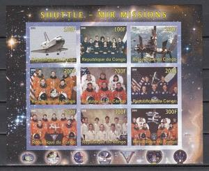 Congo Rep., 2009 Cinderella issue. Shuttle & MIR Missions, IMPERF sheet of 9.