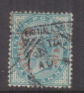 PATIALA, INDIA, 1884 oval overprint in Red, 1/2a. Blue Green, used.