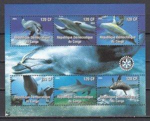 Congo Dem. Rep., 2004 Cinderella. Dolphins sheet of 6.