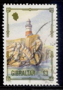 GIBRALTAR QEII SG707, 1993 £3 lighthouse europa, FINE USED. Cat £11.