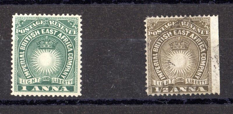 British East Africa 1/2A/1A SG11/12 Mint/VFU X4527