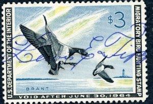 #RW30 – 1963 $3.00 Brant Landing Ducks. Used.