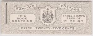 Canada USC #BK44 English - Panes of Three in Complete KGVI Booklet