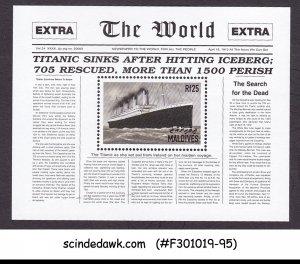 MALDIVES - 1998 TITANIC SUNKEN NEWSPAPER FRONT PAGE MIN/SHT MNH