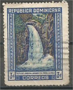 DOMINICAN REPUBLIC, 1947 used 3c, Waterfall, Scott 424