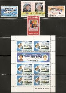 Montserrat 573-9 1985 Vist set and mini-sheet