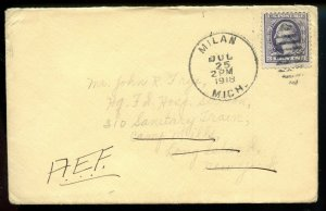 U.S. Scott 529 On 1918 American Expeditionary Force Cover from Milan, Michigan