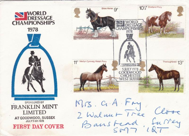 GB 1978 Horses FDC World Dressage Championships Goodwood CDS VGC