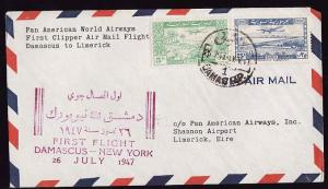 #12790 -  Syria 26 July 1947 - first flight Pan-Am from Dama