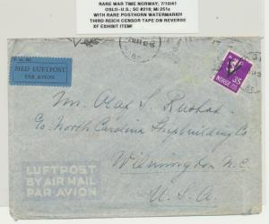 NORWAY 1941 RARE WARTIME CENSOR COVER TO USA Sc#216 Mi#249x WITH POSTHORN WMK