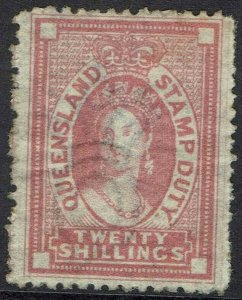 QUEENSLAND 1871 QV CHALON STAMP DUTY 20/- WITH CERTIFICATE WMK CROWN/Q