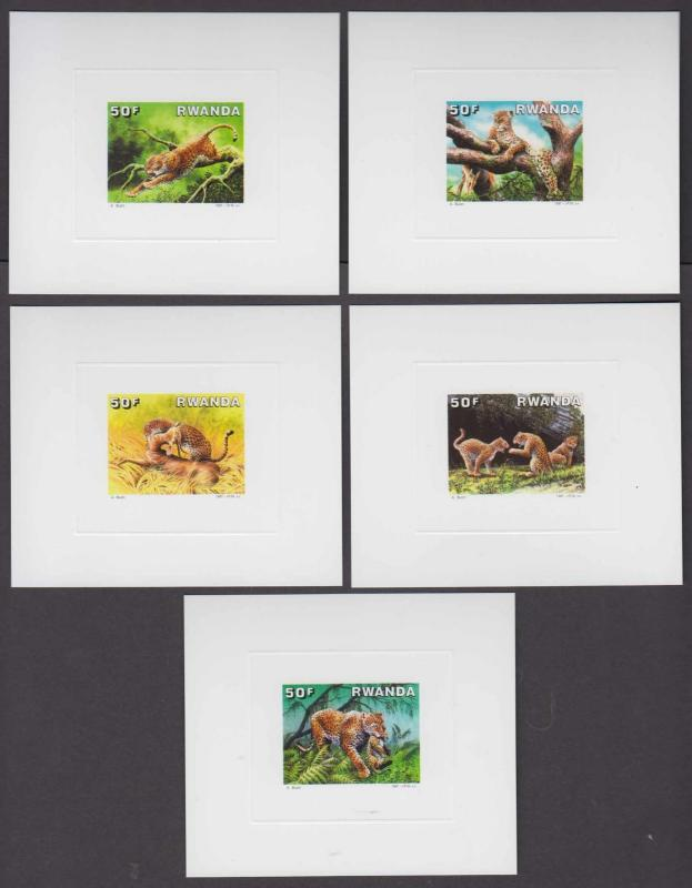 RWANDA 1987 LEOPARDS Sc 1292-1296 FULL SET OF DELUXE DIE PROOFS VF