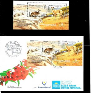 URUGUAY 2019 ISRAEL JOINT ISSUE DIPL RELATION 70TH ANIV FAUNA S/SHEET MNH+FDC