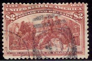 US Stamp #242 USED $2 Columbian SCV $525.