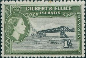 Gilbert Ellice Islands 1956 SG71 1/- Cantilever Jetty QEII MNH