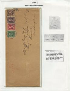 GUAM #1-4 ON REGISTERED COVER AUGUST 3,1905 CV $1,250 BS8452 HS108G