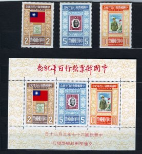 Z585 JLstamps 1978 taiwan china set + s/s mnh #2087-89a stamps on stamps