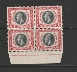 South west Africa 1935 Silver Jubilee 1d Block 4 with Imprint UM/MNH SG 88