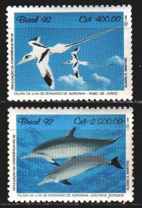 Brazil. 1992. 2455-56. Birds, albatrosses, dolphins. MNH.