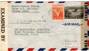 Caribbean USA CENSOR DETAINED WW2 Cover California *Suspected Nazi* 1942 MA815