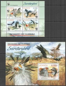 NW0448 2012 UGANDA WWF SECRETARYBIRD ENDANGERED & VULNERABLE #3000-3+BL413 MNH