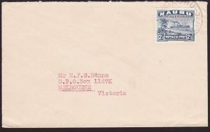 NAURU 1947 2½d freighter on commercial cover to Melbourne...................7015