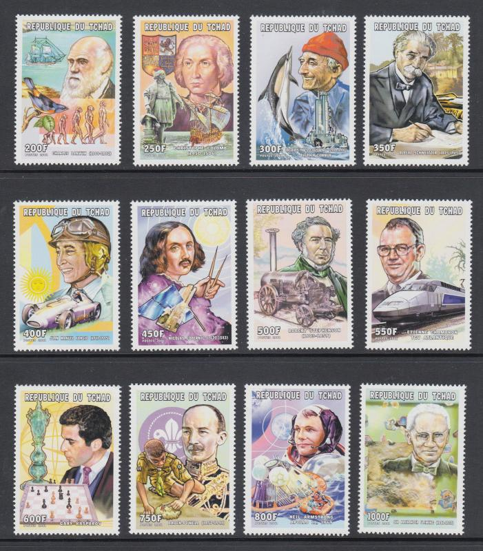 Chad Sc 918-929 MNH. 2001 Famous Explorers, Inventors, Writers, cplt set, VF.