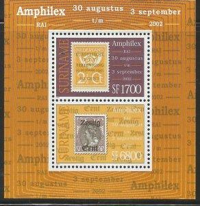 SURINAME  1283, MNH, SS OF 2,  AMPHILEX 2002 INTL. STAMP EXHIBITION, AMSTERDAM
