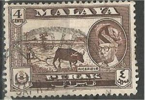 PERAK, 1957, used 4c, Shah Scott 129