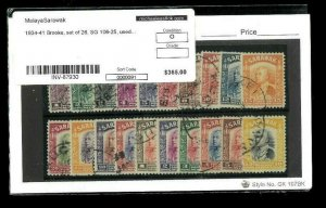 Sarawak (Malaya) Scott #'s 109/134 (1934 Issues Only). 20 Stamps. Cat. $365