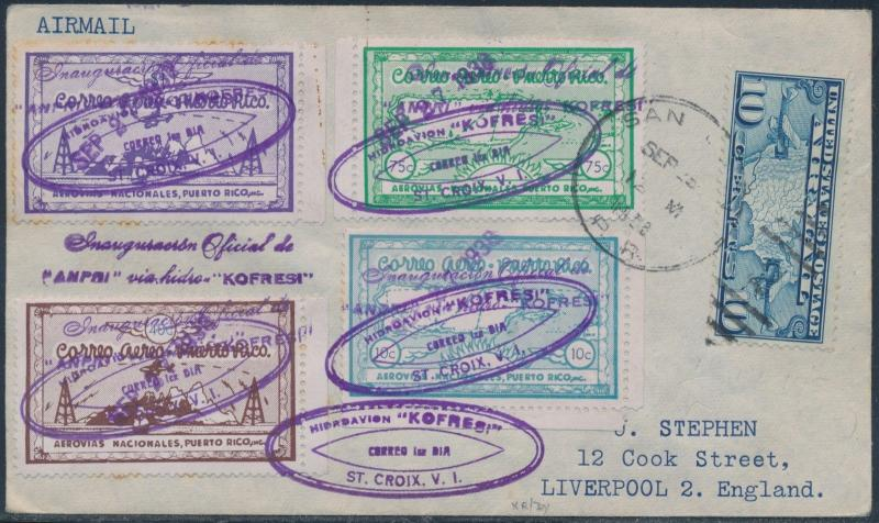 PUERTO RICO AIR LABELS ON FLOWN COVER TO UNITED KINGDOM -- RARE -- BS227