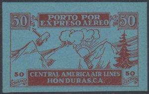 HONDURAS 1927 AIR POST SEMI OFFICIAL Sanabria SO2a TOP VALUE IMPERF MNH VF