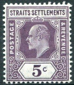 STRAITS SETTLEMENTS-1904-10 5c Dull Purple Chalk Surfaced Paper Sg 130a M/MINT