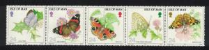 Isle of Man Butterflies strip of 5v SG#573-577